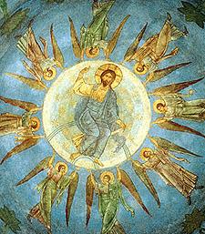 Вознесение Господне. Середина XI в. Фреска Спасо-Преображенского собора Мирожского монастыря в Пскове