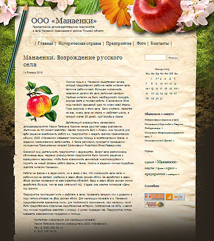 Интернет-проект «Манаенки - русское село»